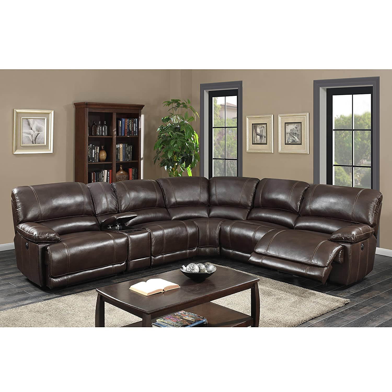 Super Ac Pacific Olivia Transitional 6 Piece Sectional With 2 Power 1 Armless Recliner And Charging Storage Console Table Holder Dark Brown Ibusinesslaw Wood Chair Design Ideas Ibusinesslaworg