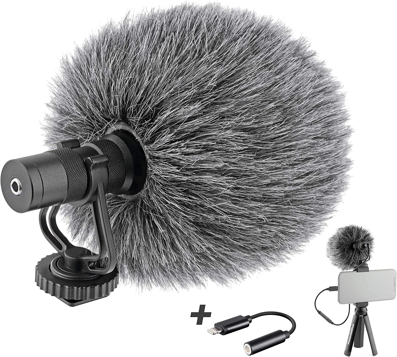 Video Microphone with Adapter - Unidirectional On-Camera Microphone for iPhone - Directional Cardioid iPhone Microphone for Video Recording