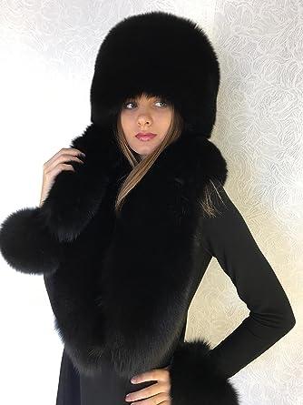 7acb11b3ea16a Blue Fox Fur Collar 50  Pillbox Hat Set Saga Furs Black Three Tails ...