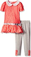 Young Hearts Little Girls' 2 Piece Dress with Bow and Legging Set
