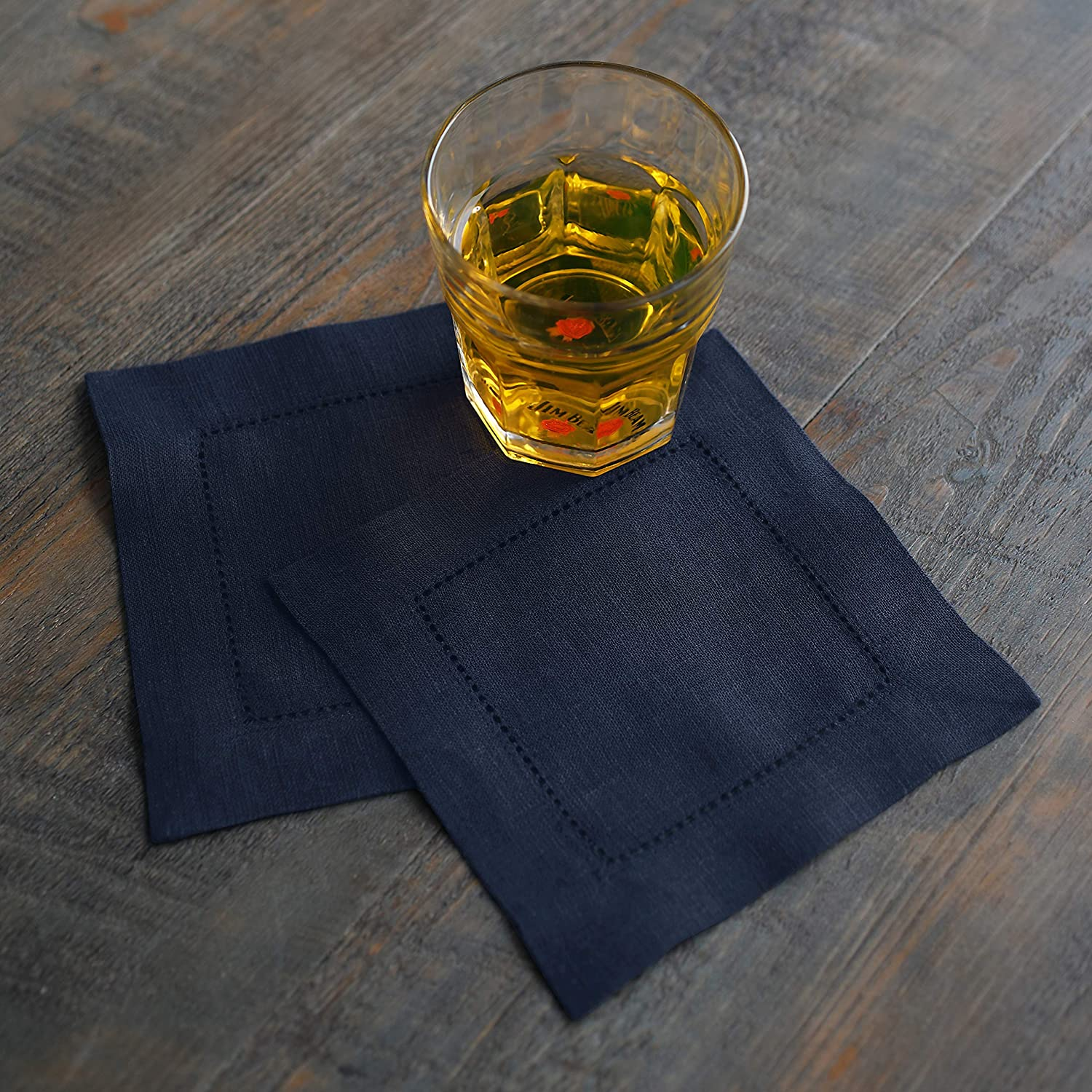 Set of 12 Solino Home Hemstitch Linen Cocktail Napkins 100/% European Flax Classic Hemstitch Napkin Coaster 6 x 6 Inch Black Pure Natural Fabric Handcrafted with Mitered Corners