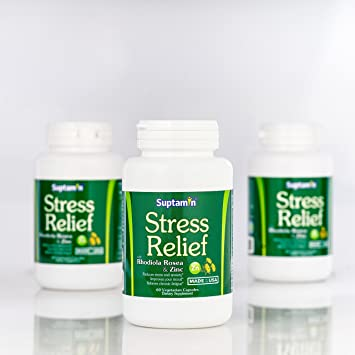 All Natural Stress Relief Supplement with Rhodiola Rosea & Zinc | Made in the USA |