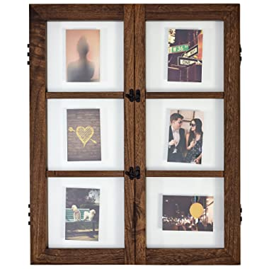 Stone & Beam Modern Windowpane Wood Picture Frame, 29.6 H, Walnut and Black