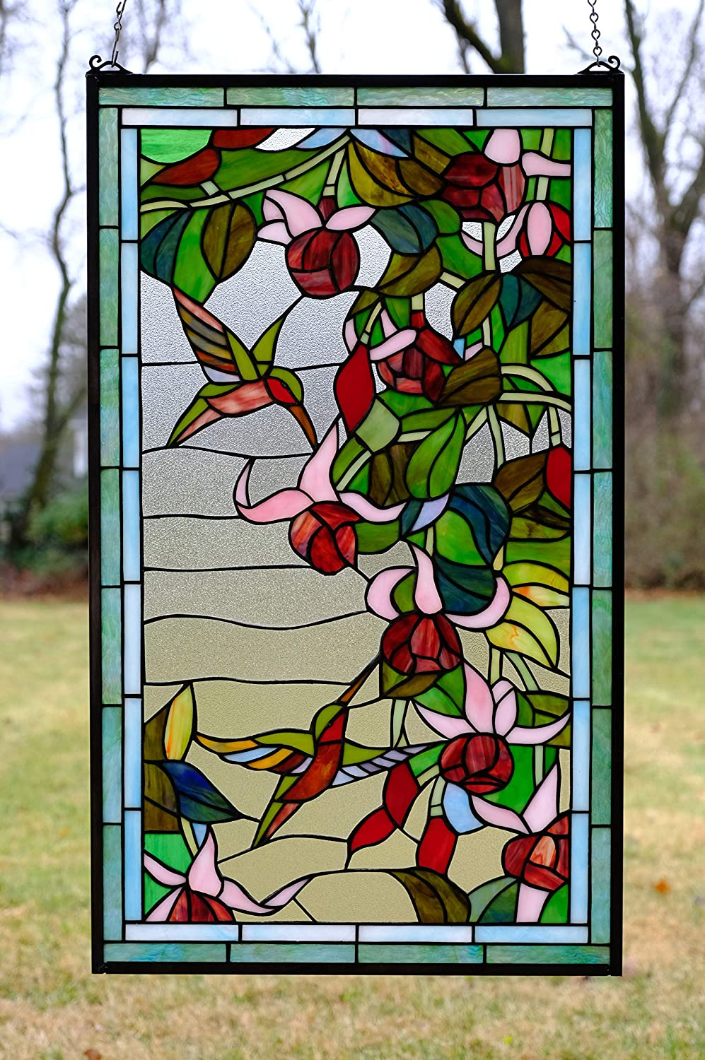 20 25 X 34 Large Tiffany Style Stained Glass Window Panel Hummingbirds Flowers Home Kitchen