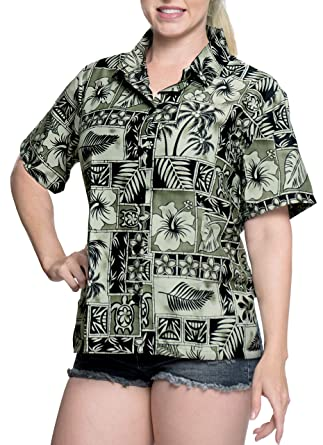 La Leela Hawaiian Blouse Women Work Shirt Short Sleeve Beach