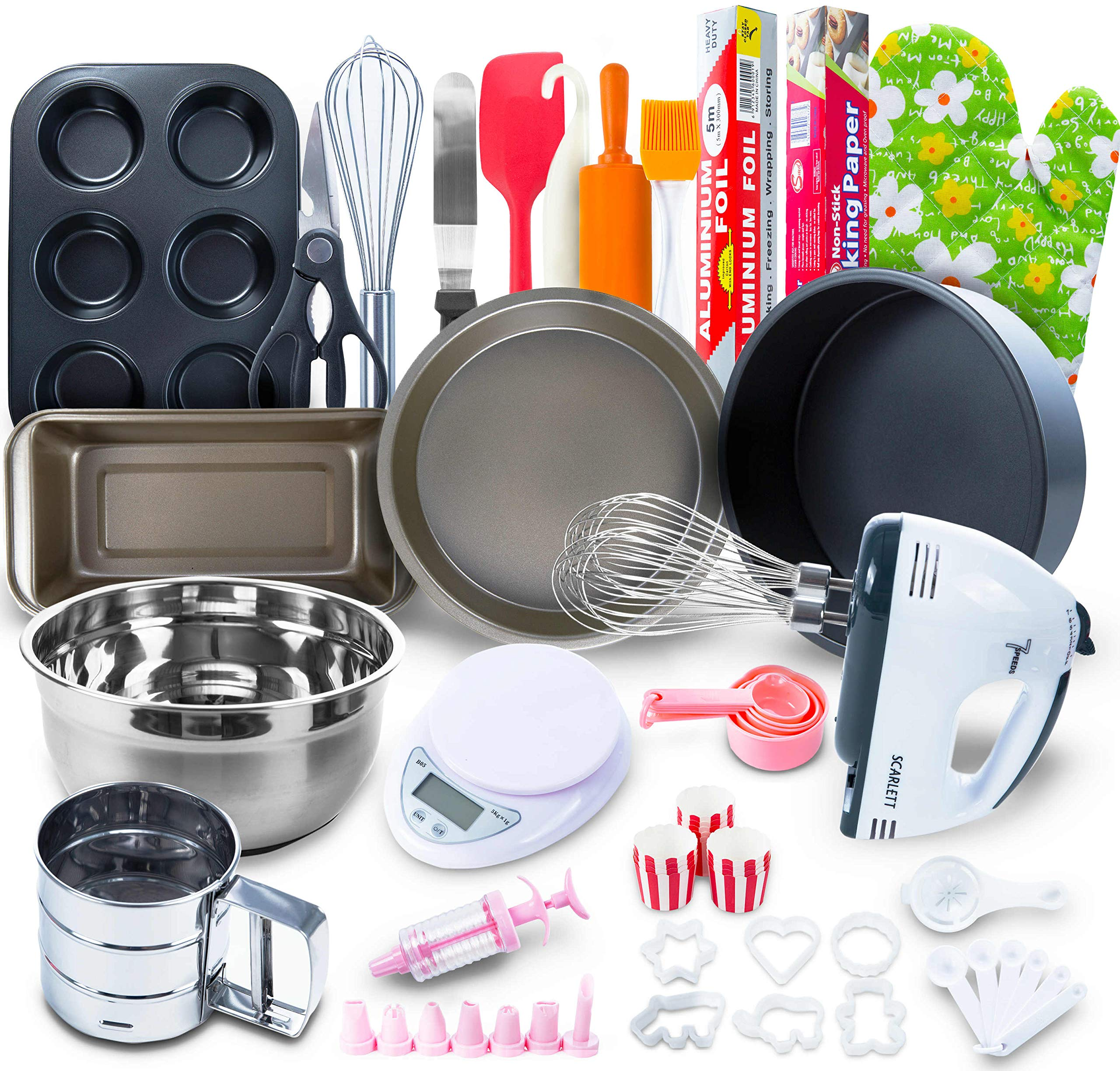 Baking Set for kids and adults - (60 PCS SPECIAL BAKERY EQUIPMENT AND TOOLS) With Hand Mixer, BONUS Recipe Guide, Cake Pans, and More Utensils! Create STUNNING Cakes w/the Cake kit! by Aleeza Cake Wonders