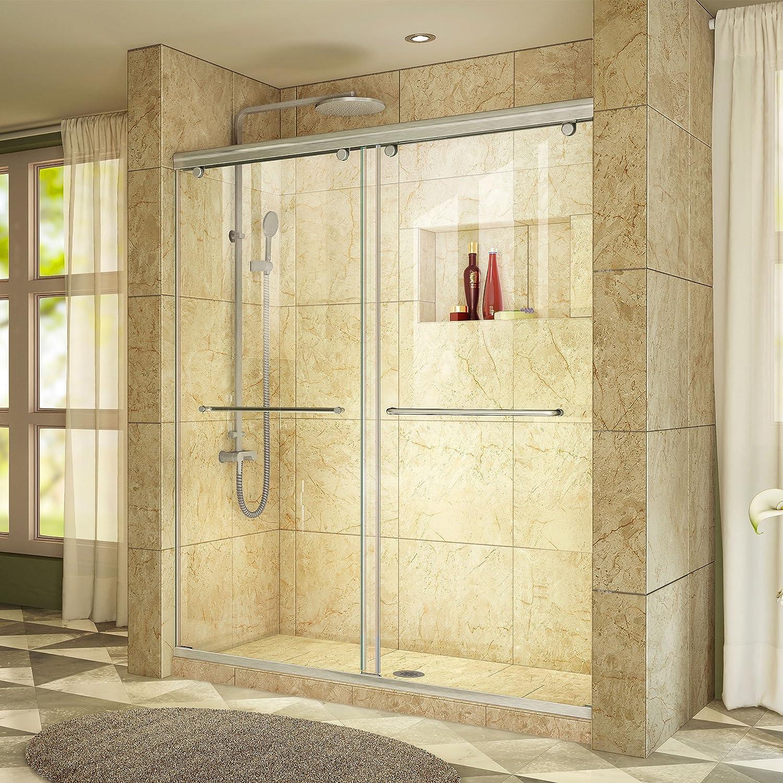 DreamLine Charisma 56-60 in. W x 76 in. H Frameless Bypass Sliding Shower Door in Brushed Nickel