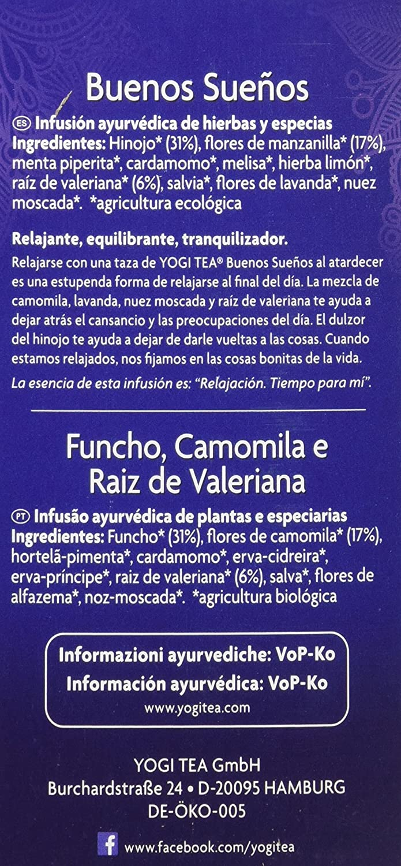 Yogi Tea Buenos Sueños - Paquete de 6 x 17 Sobres - Total: 102 Sobres: Amazon.es: Alimentación y bebidas