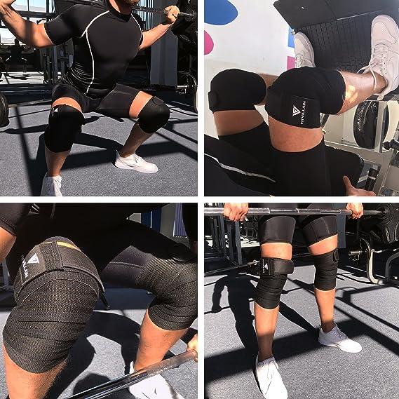 Genouill/ère Bandage Musculation Fitness Prot/ège Genou Bande de Genou Bandage Prot/ège Genou Elastique et R/églable Genouill/ère /Élastique Sport Knee Wraps pour Crossfit Musculation Powerlifting