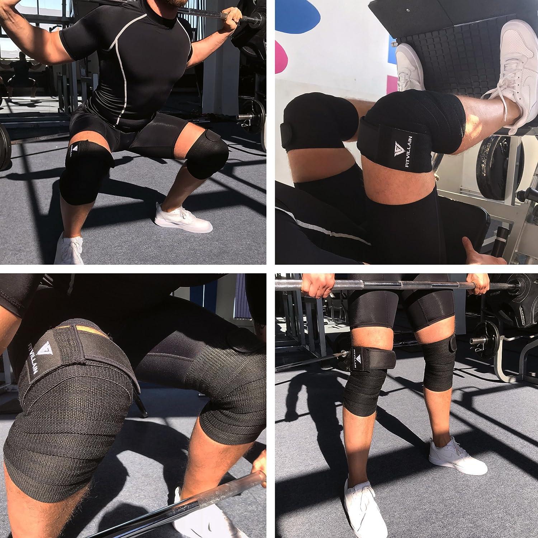 Rodilleras de Compresi/ón Sentadillas Levantamiento de Pesas Powerlifting Crossfit Negro Vendas El/ásticas para las Rodillas con Ajustable Peso Muerto Entrenamiento Soporte Halterofilia