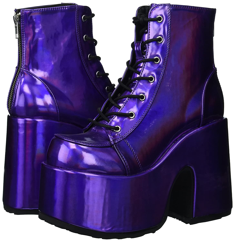 Demonia Purple Camel 203 Stiefel Schwarz Purple Demonia Hologram Vegan Leather 44c809