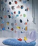 Spirella Fish Multicolor - Cortina para ducha de vinilo (180 cm x 200 cm)