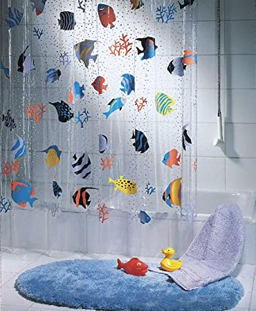 Marvelous Spirella Fish PEVA Clear Plastic Shower Curtain, 180 X 200 Cm, Blue/ Orange