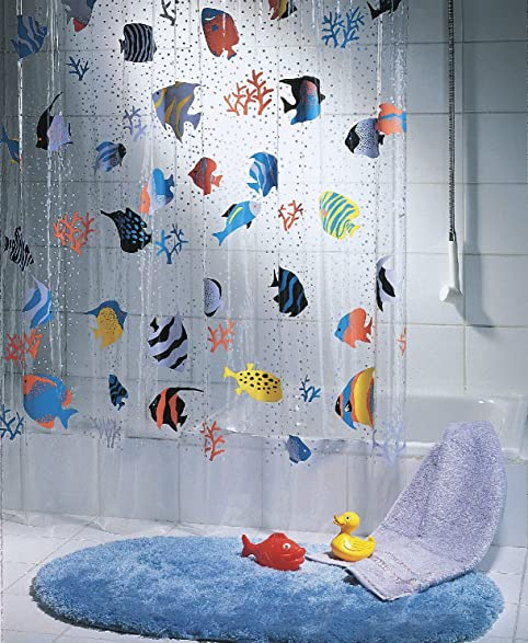 Spirella Fish PEVA Clear Plastic Shower Curtain 180 x 200 cm Blue  OrangeAmazon com Orange And Black and ChevronBest