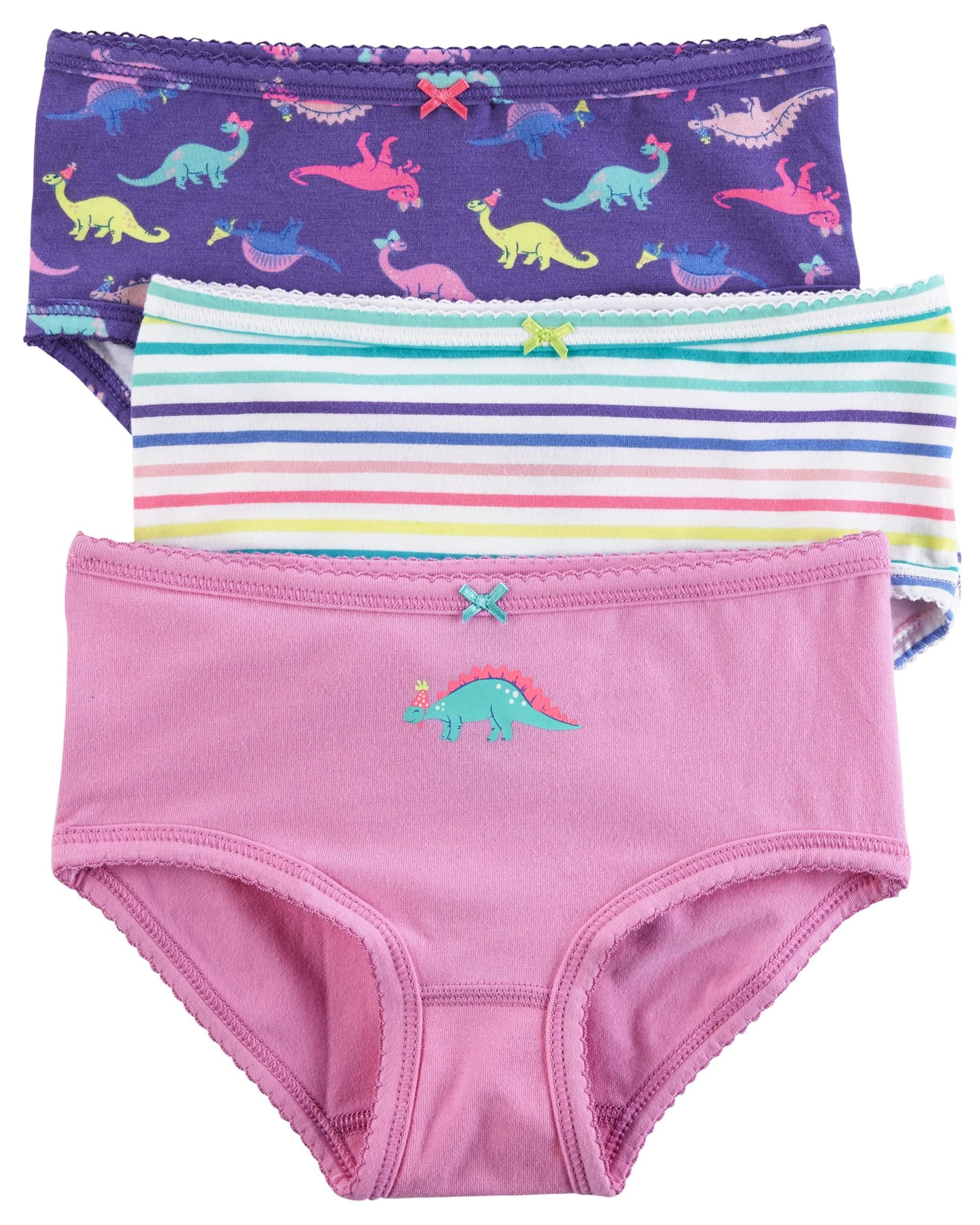 Carter's Little Girl's 3-Pack Stretch Cotton Panties (2-3T, Dinosaurs Print (436344110-11-2017)/Print/Stripes)