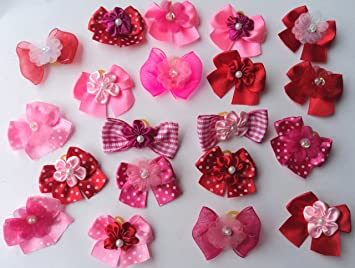 30 Valentineu0027s Day Dog Hair Bows Collection  Hot Pink/Pink/Red With Center
