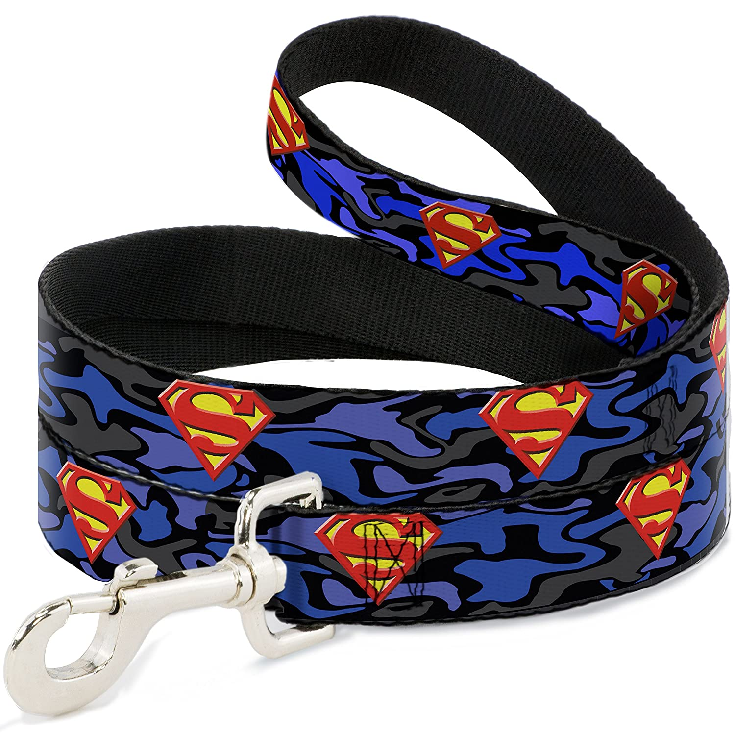 6Ft. Long  1.0 Inches wide Regular Buckle-Down Superman Shield Camo bluee  Dog Leash, 6'