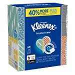 Kleenex Trusted Care Everyday Facial Tissues, Cube Box, 70 Tissues per Box, 4 Pack (280 Tissues Total)