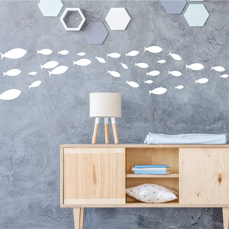 Under The Sea Vinyl Wall Stickers for Kids Room Bedroom Bathroom Nursery Decor-Blue Ocean Fish Wall Decal