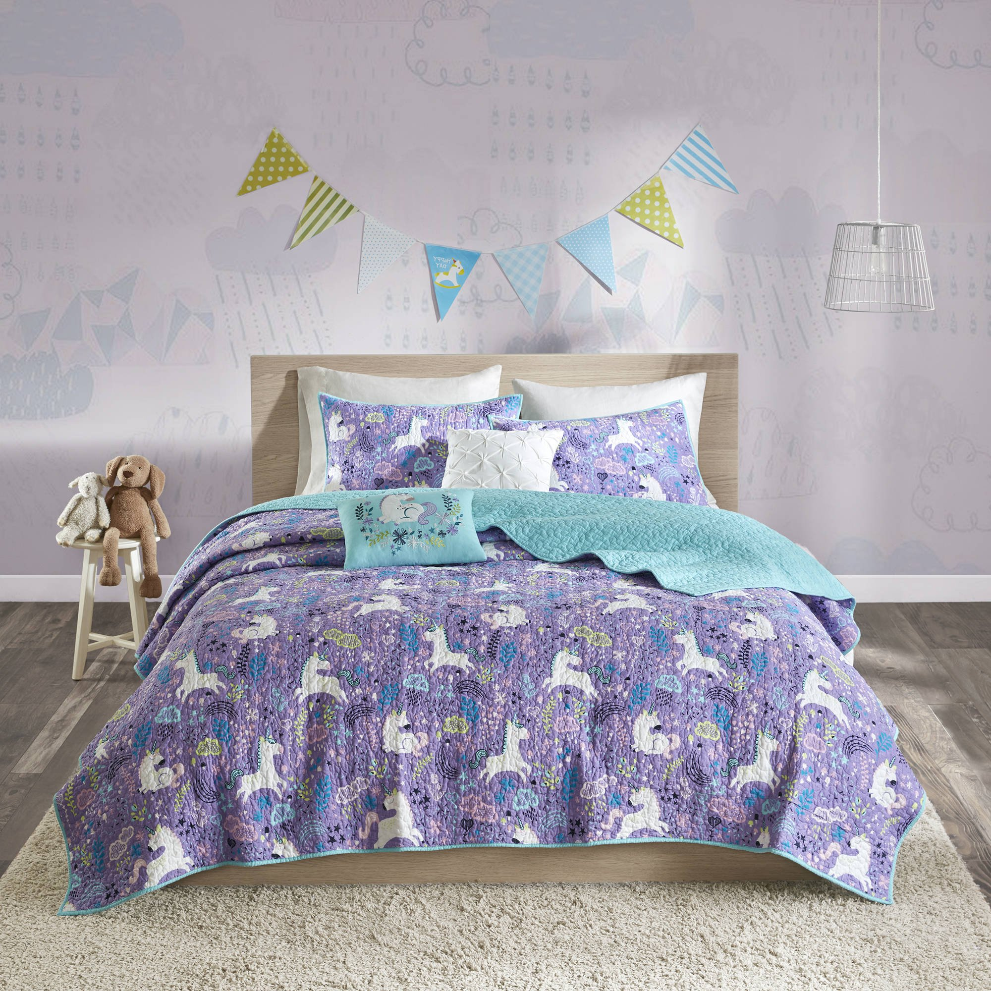 5 Piece Girls Purple Multi Whimsical Unicorn Theme Coverlet Full Queen Set, Beautiful All Over Charming Hearts, Flowers, Clouds, Magical Pattern, Soft & Cozy Kids Bedding, Bright Abstract Colors