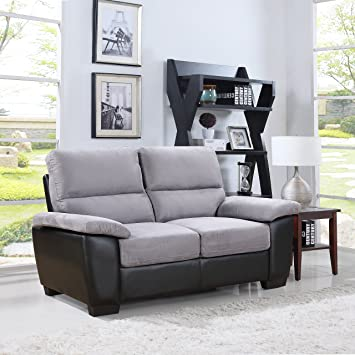 Divano Roma Classic Soft Microfiber And Bonded Leather Living Room Furniture  (Loveseat, Grey) Part 52