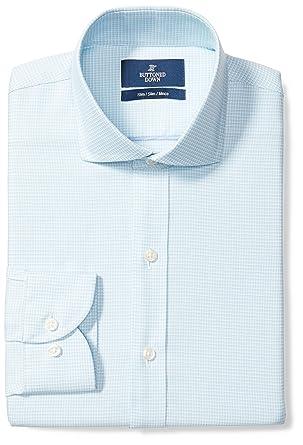 f880afc2 BUTTONED DOWN Men's Slim Fit Cutaway-Collar Pattern Non-Iron Dress Shirt,  Aqua