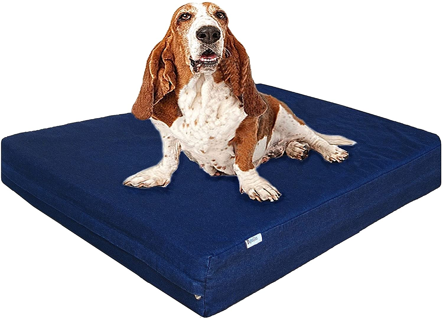 dogbed4less Premium Memory Foam Dog Bed, Pressure-Relief Orthopedic Waterproof Case, Washable Durable Denim Cover and Bonus 2nd External Cover, 7 Sizes, Blue