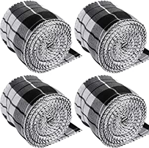 4 Rolls Christmas Wired Edge Ribbon, Plaid Burlap Ribbon, Wired Edge Ribbon for Crafts Thanksgiving Christmas Decoration Bows Crafts, 2.5 Inch, 26 Yard in Total (Black, White)