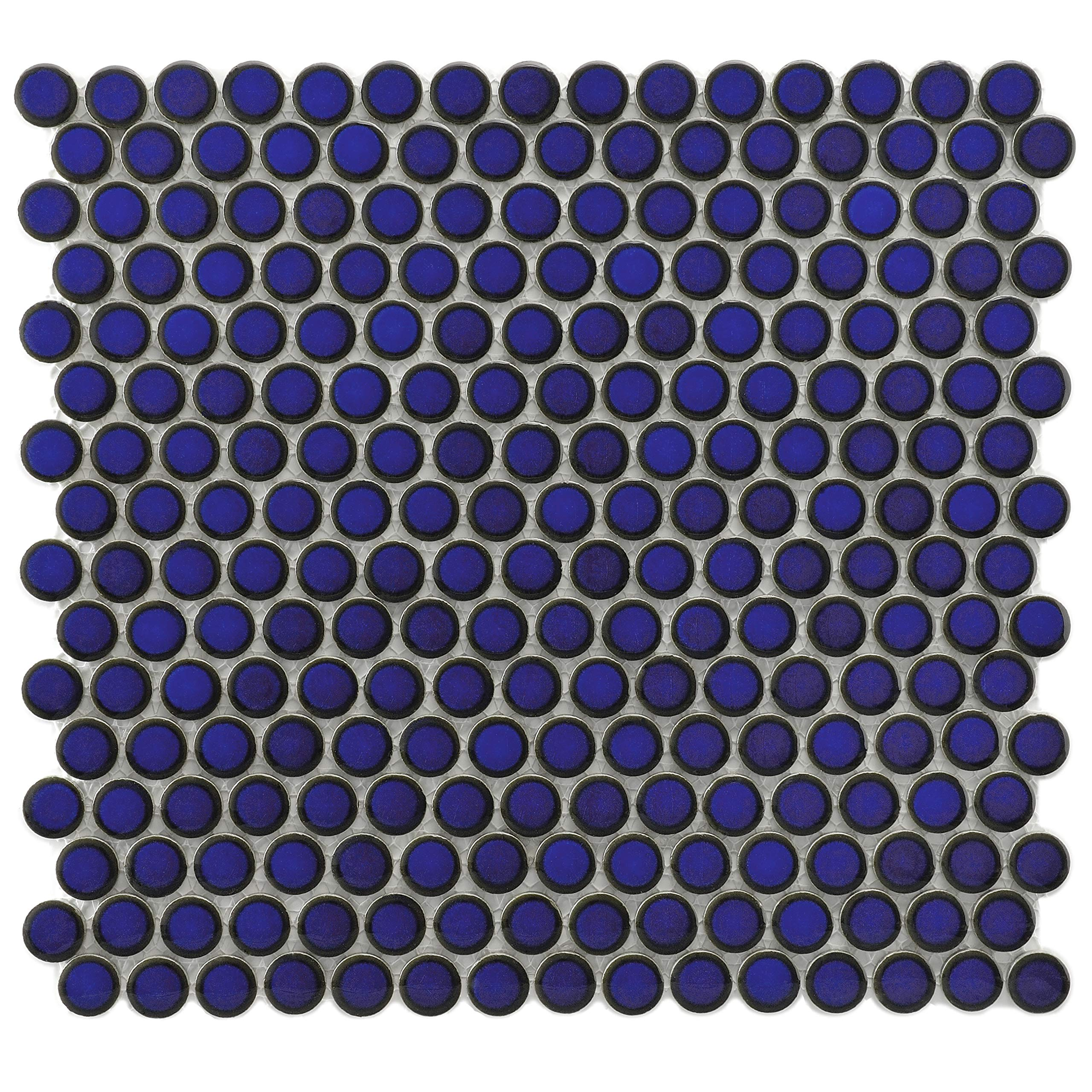 SomerTile FKOMPR24 Penny Eye Porcelain Mosaic Floor and Wall, 12'' x 12.625'', Blue Tile, 10 Piece