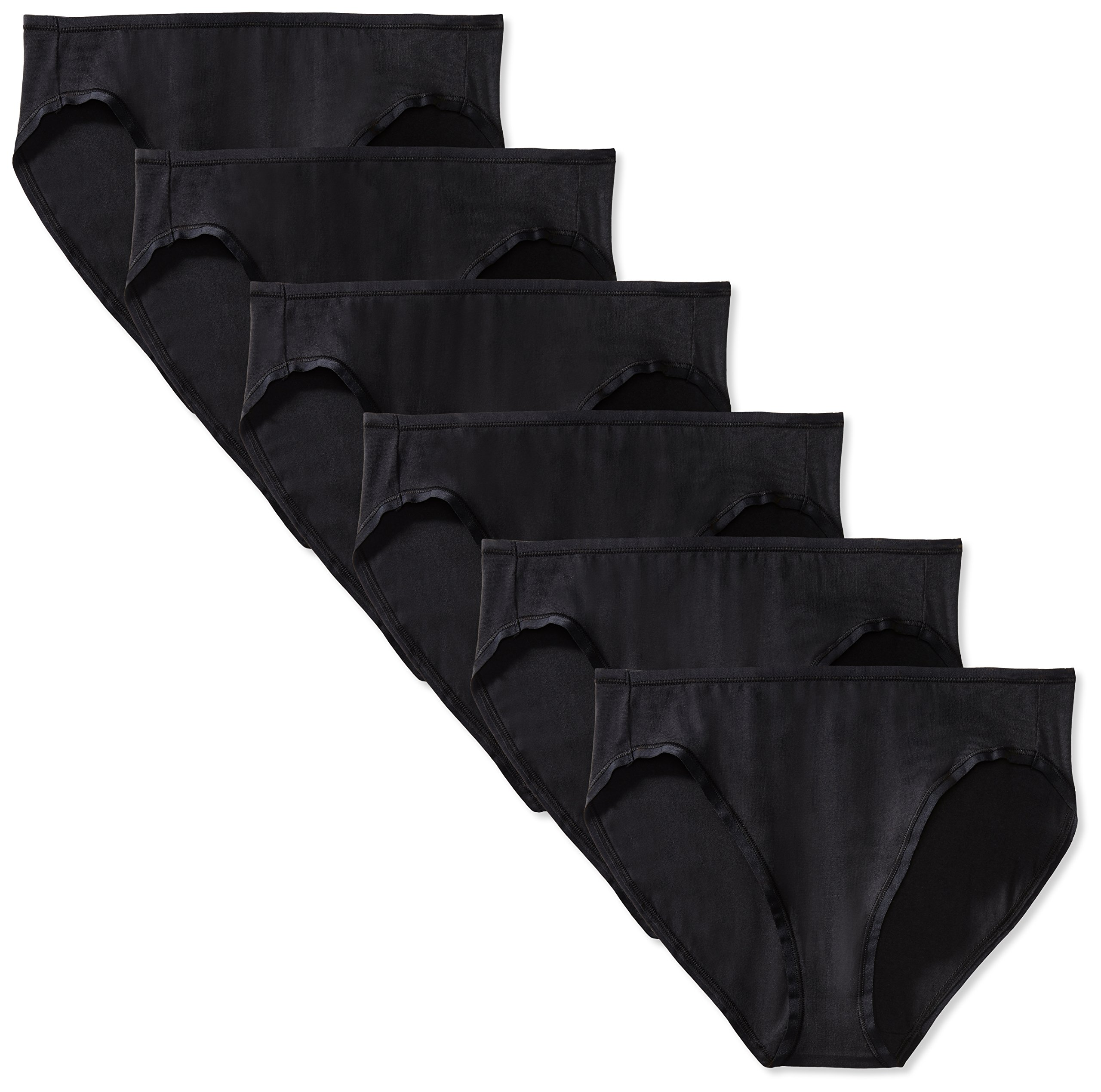Amazon Essentials Women's Cotton Stretch Bikini Panty, 6-Pack, Black, X-Large