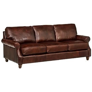 Stone & Beam Charles Classic Oversized Leather Sofa, 92 W, Walnut