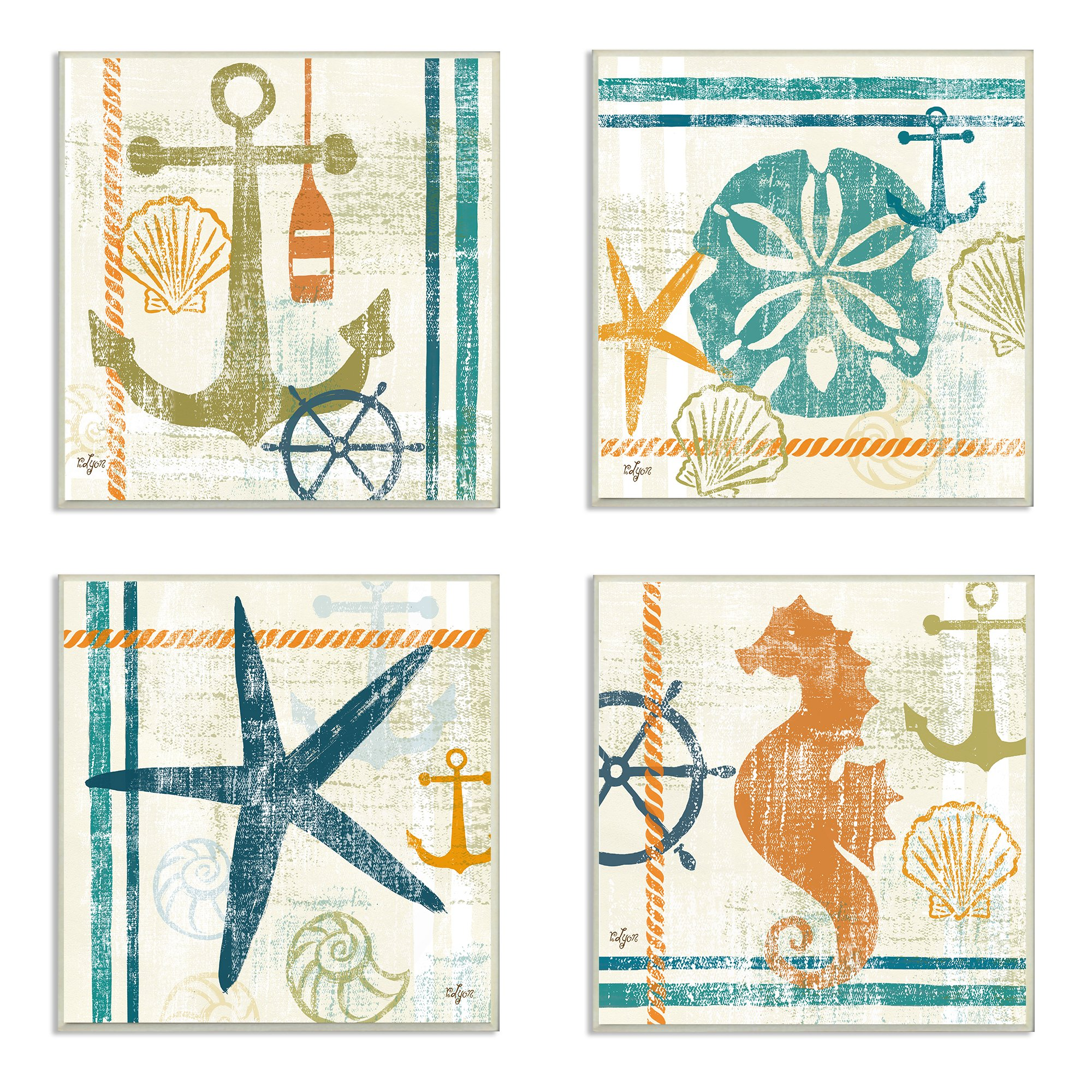 The Stupell Home Decor Collection Nautical and Beach Themed 4-Piece Square Wall Plaque Set by The Stupell Home Decor Collection