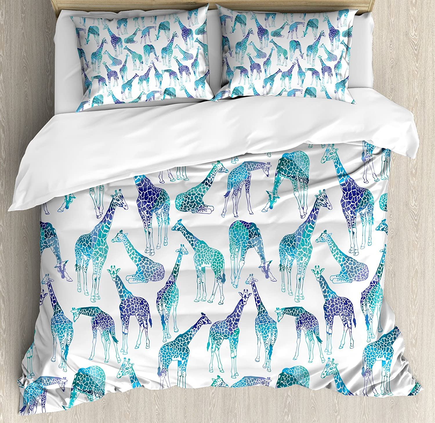 Lunarable Giraffe Duvet Cover Set, Abstract Animal Various Poses Sitting Eating Walking Inspiration, Decorative 3 Piece Bedding Set with 2 Pillow Shams, Queen Size, Blue