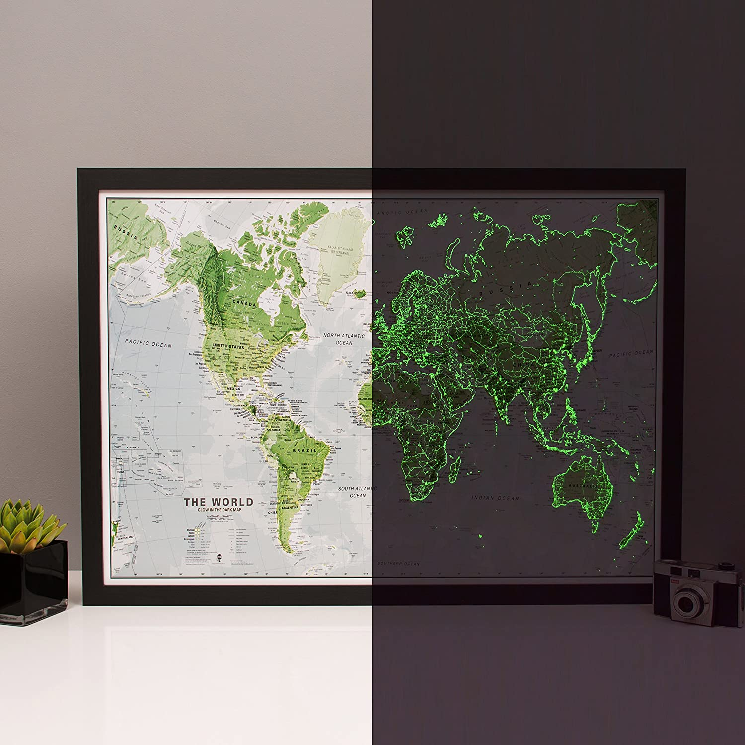 Glow in the dark map of the world map is illuminated at night glow in the dark map of the world map is illuminated at night childrens educational poster amazon office products gumiabroncs Images