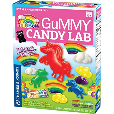 Thames & Kosmos Rainbow Gummy Candy Lab - Unicorns, Clouds & Rainbows! Sweet Science STEM Experiment Kit, Make Your Own Gummy Candies in Cool Shapes & Colors: Toys & Games
