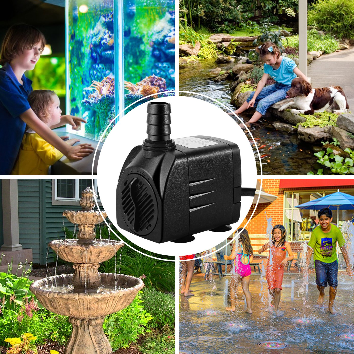 Pond Water Pump Hydroponics Fish Tank Fountain Pump 3 Nozzles for Aquarium 400GPH Submersible Water Pump Backyard Fountain Durable 25W Outdoor Fountain Water Pump with 6.5ft Power Cord