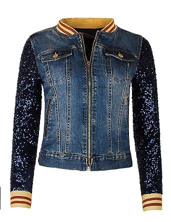 dd725669586a Fraternel Veste Blouson en Jean pour Femme Paillettes  Amazon.fr  Vêtements  et accessoires