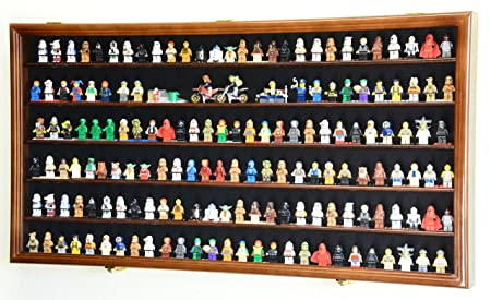 sfDisplay.com,LLC. 180 Lego Men Legos Mini Figures Minifigures Display Case Cabinet – Lockable Walnut Finish