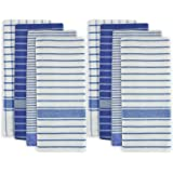 """DII 100% Cotton, Ultra Absorbent, Drying & Cleaning, Everyday Kitchen Basic, Classic Stripe Dishtowel, 20 x 28"""", Set of 8- Blue"""