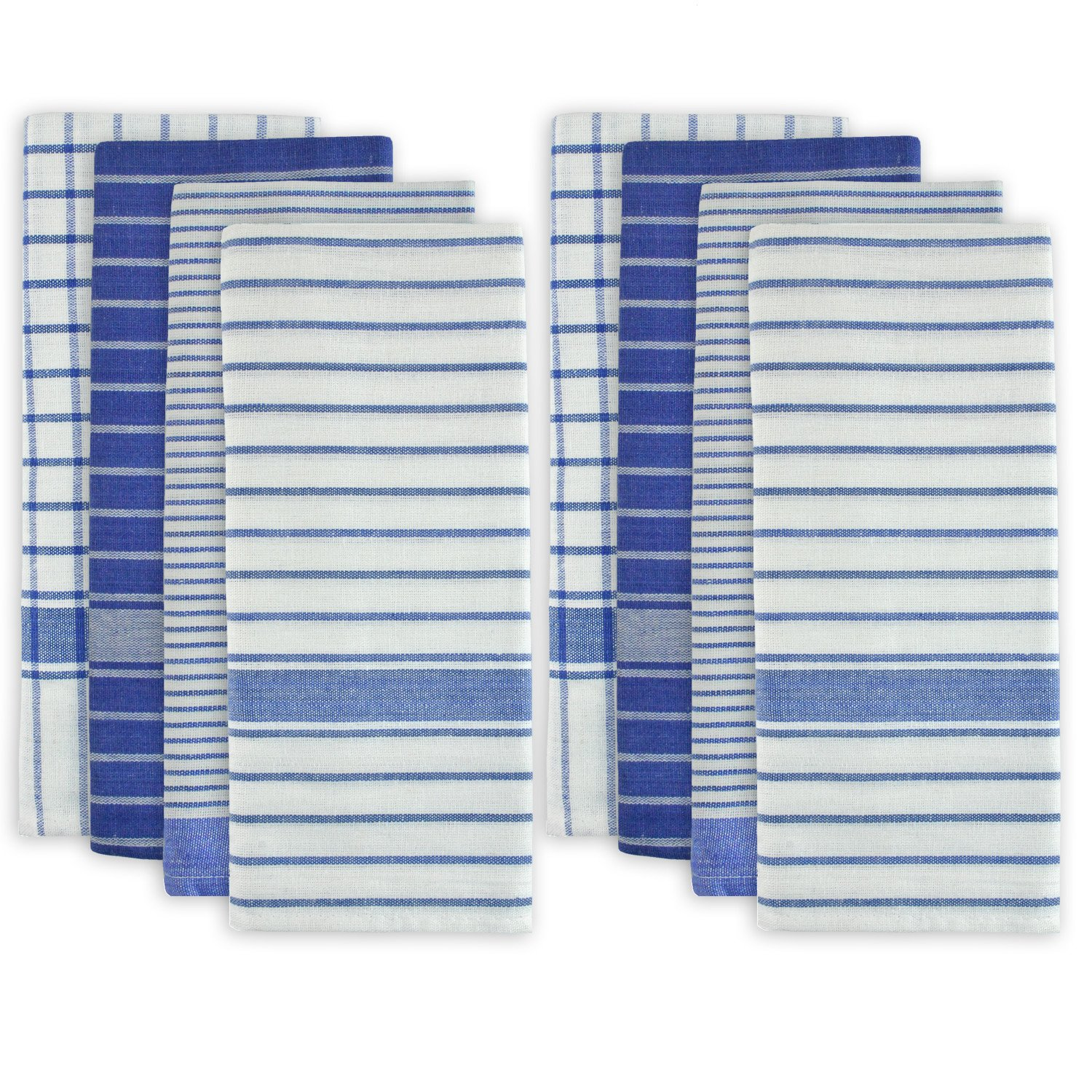DII 100% Cotton, Ultra Absorbent, Drying & Cleaning, Everyday Kitchen Basic, Classic Stripe Dishtowel, 20 x 28, Set of 8- Blue