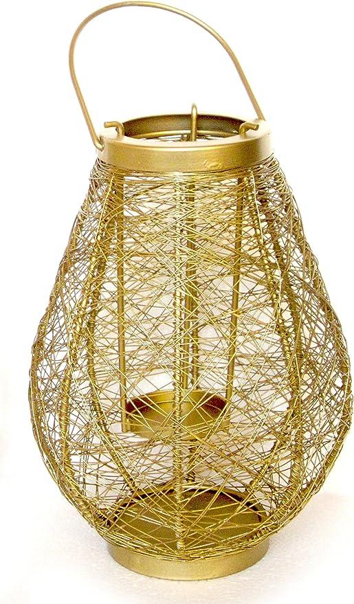 Lantern Decorative Gold Geometric Metal Candle Holder 21Cm Tea Lights Home Decor