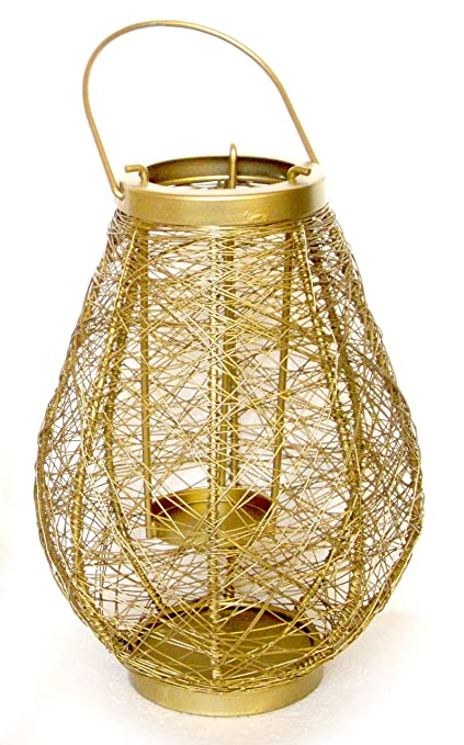 Nexplora Industries Decorative Bird Nest Shaped Lantern Tealight Candle Holder (Gold)