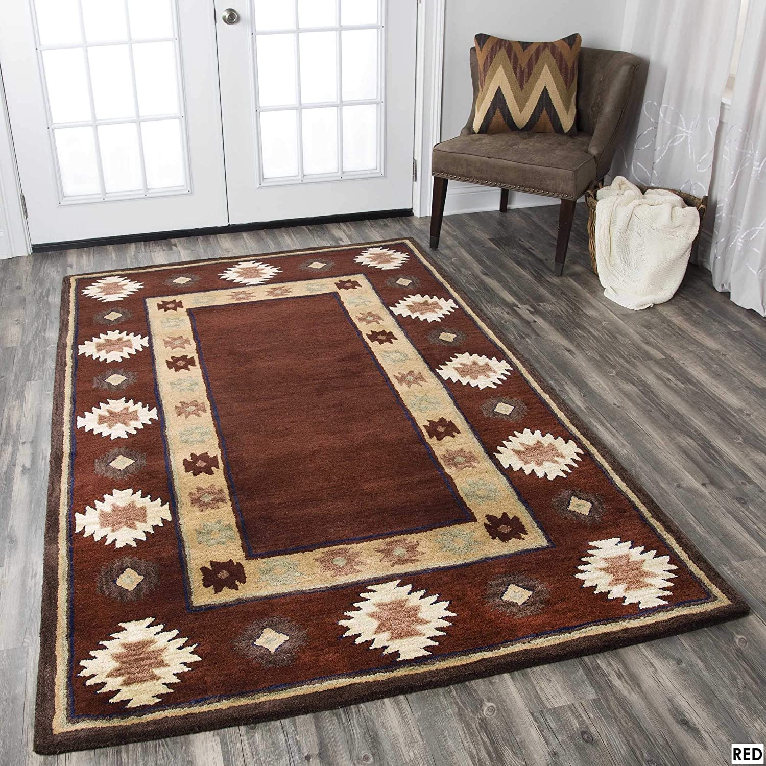 Rizzy Home Ryder Collection Southwest Bordered Rug Burgundy 8' x 10' Contains Latex Geometric 0.25-0.5 inch Stain Resistant, Handmade 8' x 10'