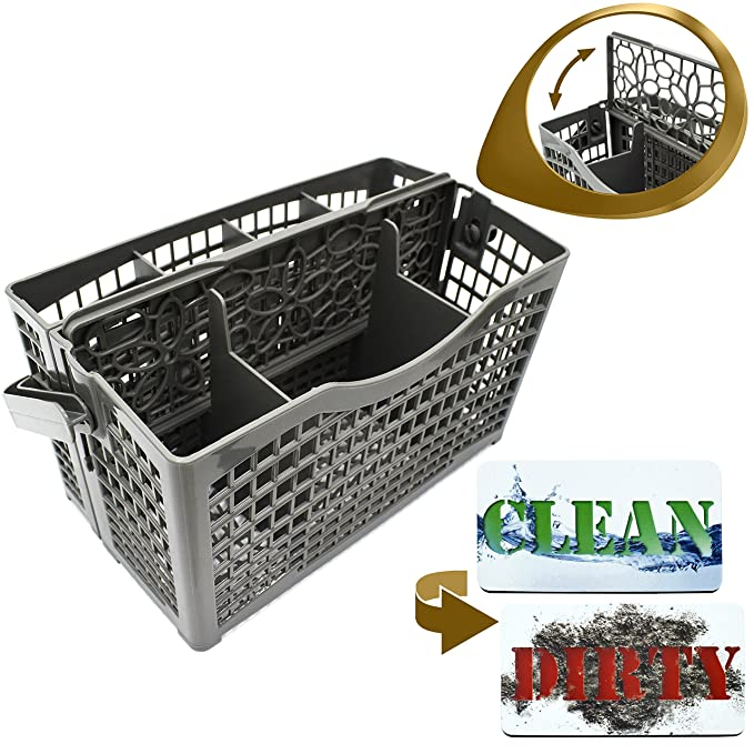 Review Dishwasher Silverware Replacement Basket Universal - Clean Dirty Magnet Sign - Utensil/Cutlery Holder - Fits Bosch, Maytag, Kenmore, Whirlpool, KitchenAid, LG, Samsung, Frigidaire, GE