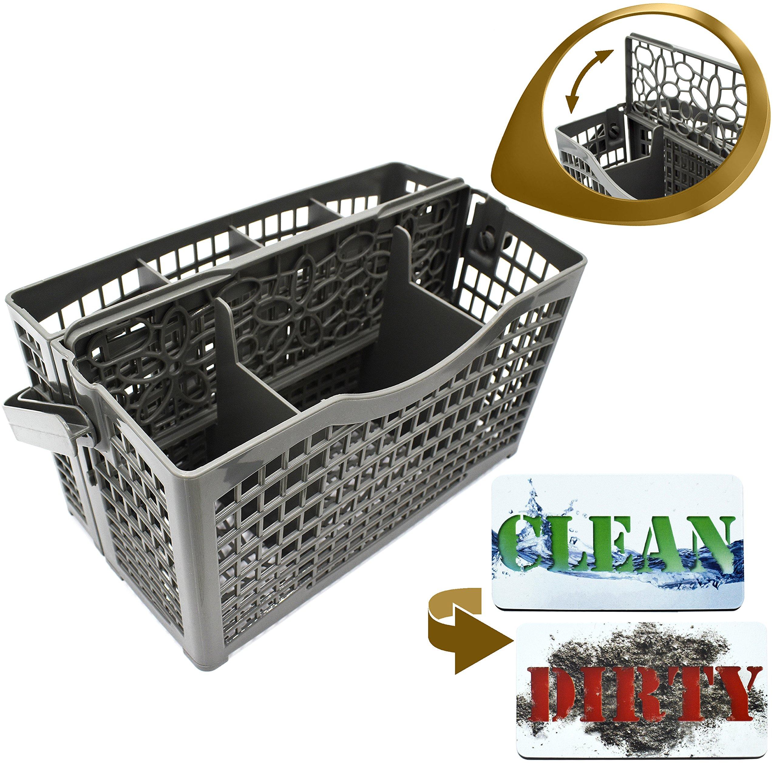 Dishwasher Silverware Replacement Basket Universal - Clean Dirty Magnet Sign - Utensil/Cutlery Holder - Fits Bosch, Maytag, Kenmore, Whirlpool, KitchenAid, LG, Samsung, Frigidaire, GE
