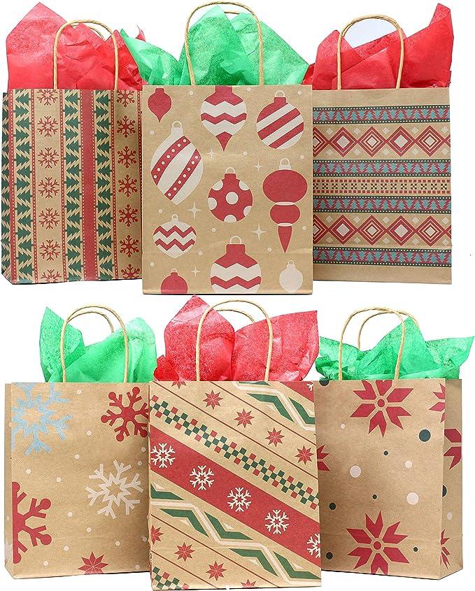 24 Bolsas de Papel Kraft DIY con 24 N/úmeros Pegatinas Calendario de Adviento Bolsas Papel para Fiestas Galletas Caramelos Bombones GIKPAL Bolsas de Regalo para Navidad