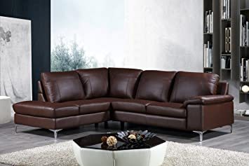 Exceptional Cortesi Home Contemporary Dallas Genuine Leather Sectional Sofa With Left  Side Facing Chaise Lounge, Brown