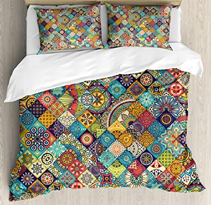 Amazon.com  Ambesonne Bohemian King Size Duvet Cover Set 36c33173990