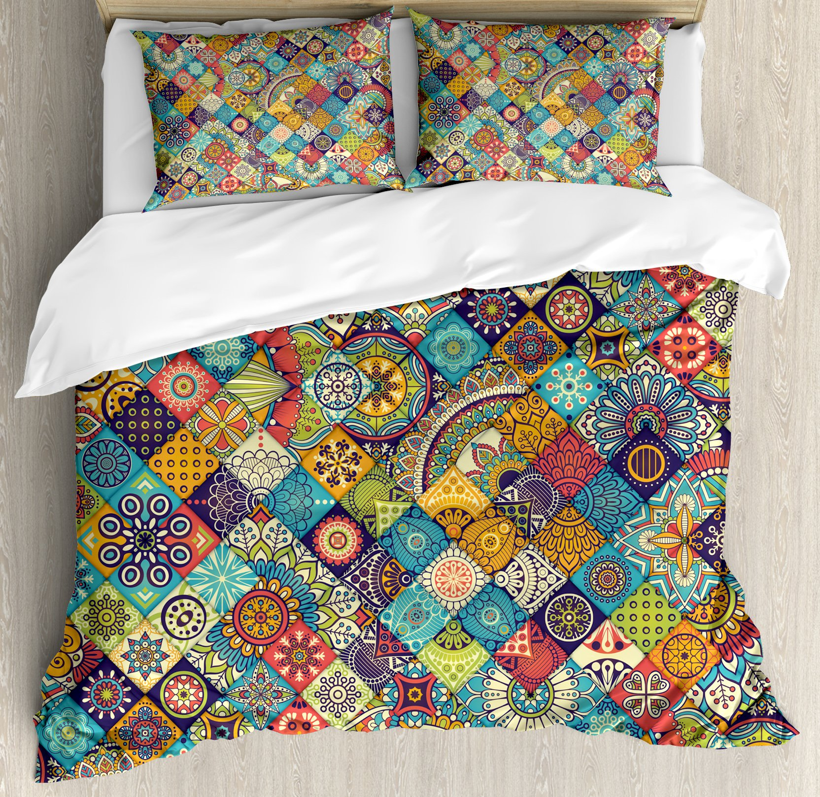 Ambesonne Bohemian Duvet Cover Set King Size by, Checkered Pattern with Ethnic Ornamental Floral Figures Ethnic Folk Art Abstract, Decorative 3 Piece Bedding Set with 2 Pillow Shams, Multicolor