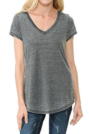 Amazon.com: Garment Washed V Neck Vintage Round Hem Cool T Shirts ...